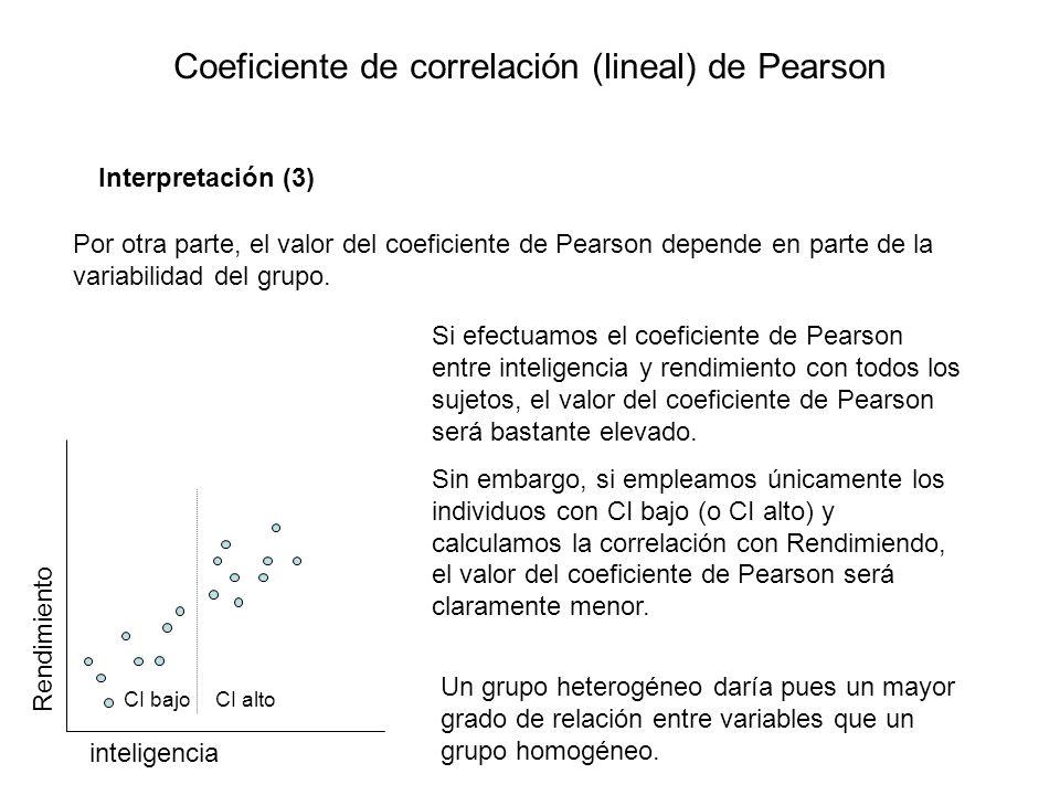 Coeficiente de correlación (lineal) de Pearson Interpretación (3) Por otra parte, el valor del coeficiente de Pearson depende en parte de la variabili