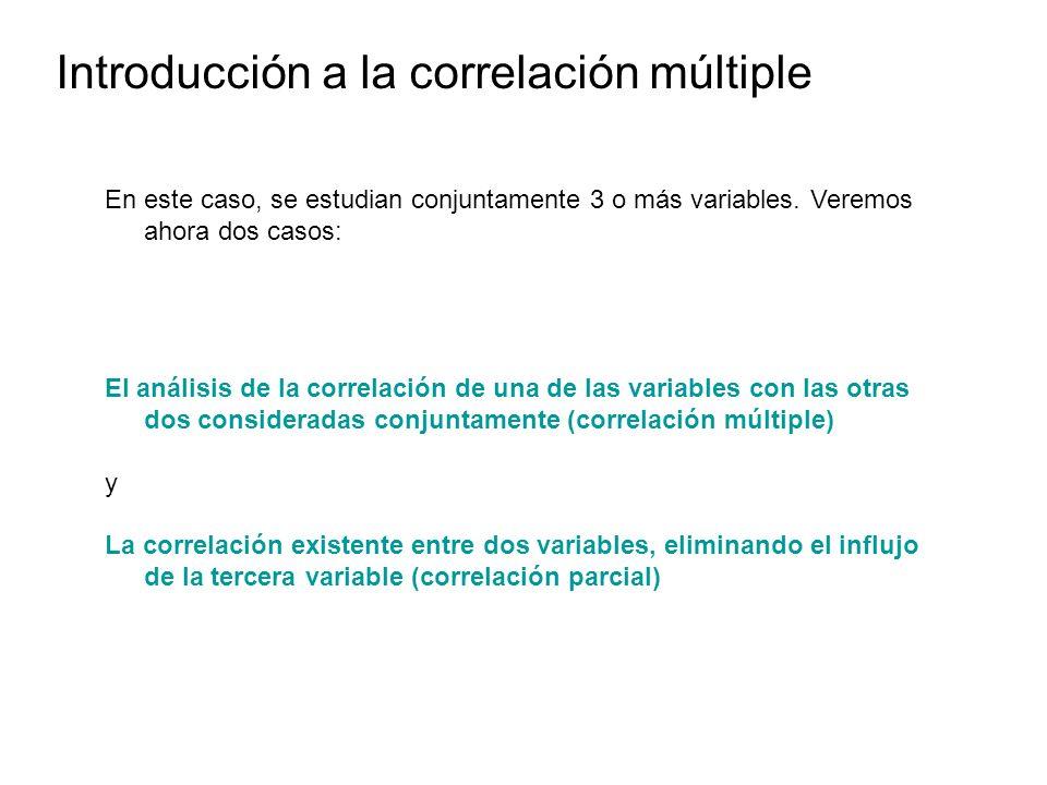 Introducción a la correlación múltiple En este caso, se estudian conjuntamente 3 o más variables. Veremos ahora dos casos: El análisis de la correlaci