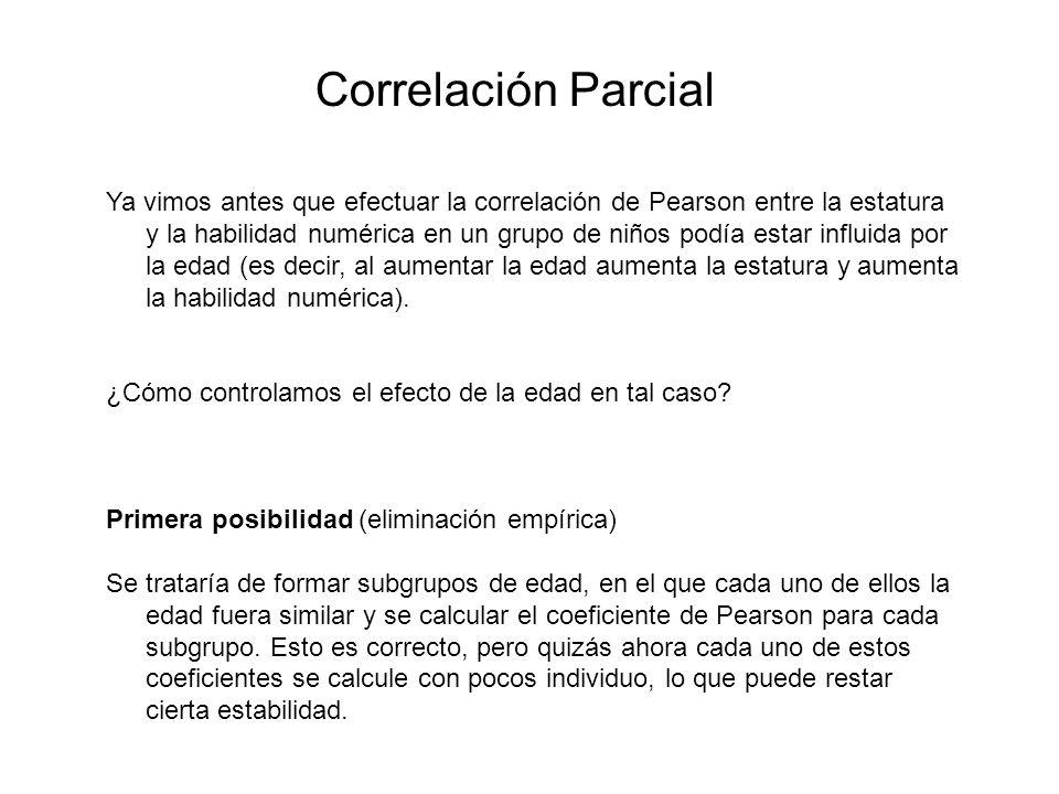 Correlación Parcial Ya vimos antes que efectuar la correlación de Pearson entre la estatura y la habilidad numérica en un grupo de niños podía estar i