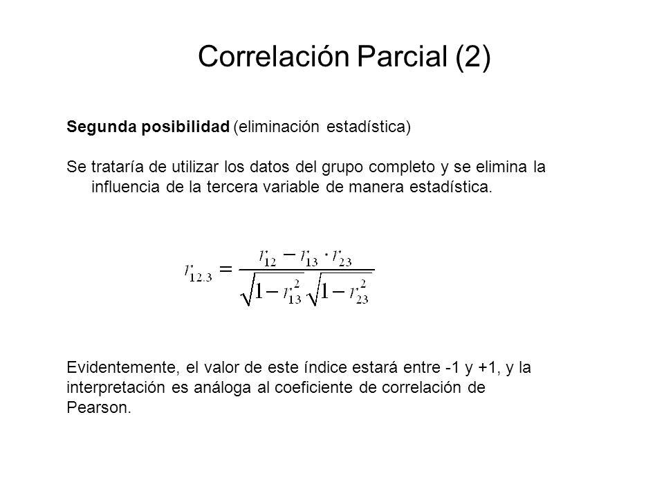 Correlación Parcial (2) Segunda posibilidad (eliminación estadística) Se trataría de utilizar los datos del grupo completo y se elimina la influencia