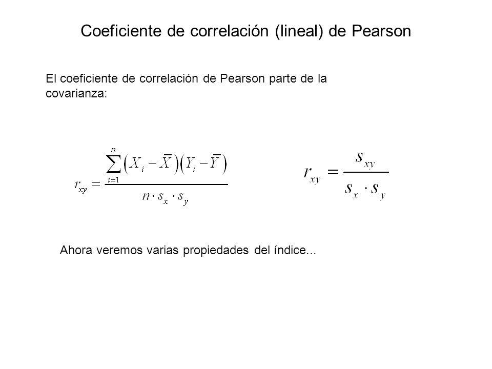 Coeficiente de correlación (lineal) de Pearson El coeficiente de correlación de Pearson parte de la covarianza: Ahora veremos varias propiedades del í