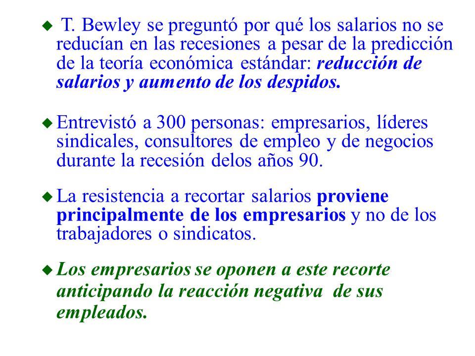 u T. Bewley se preguntó por qué los salarios no se reducían en las recesiones a pesar de la predicción de la teoría económica estándar: reducción de s