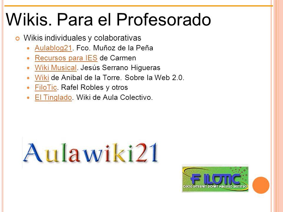 Wikis. Para el Profesorado Wikis individuales y colaborativas Aulablog21. Fco. Muñoz de la Peña Aulablog21 Recursos para IES de Carmen Recursos para I