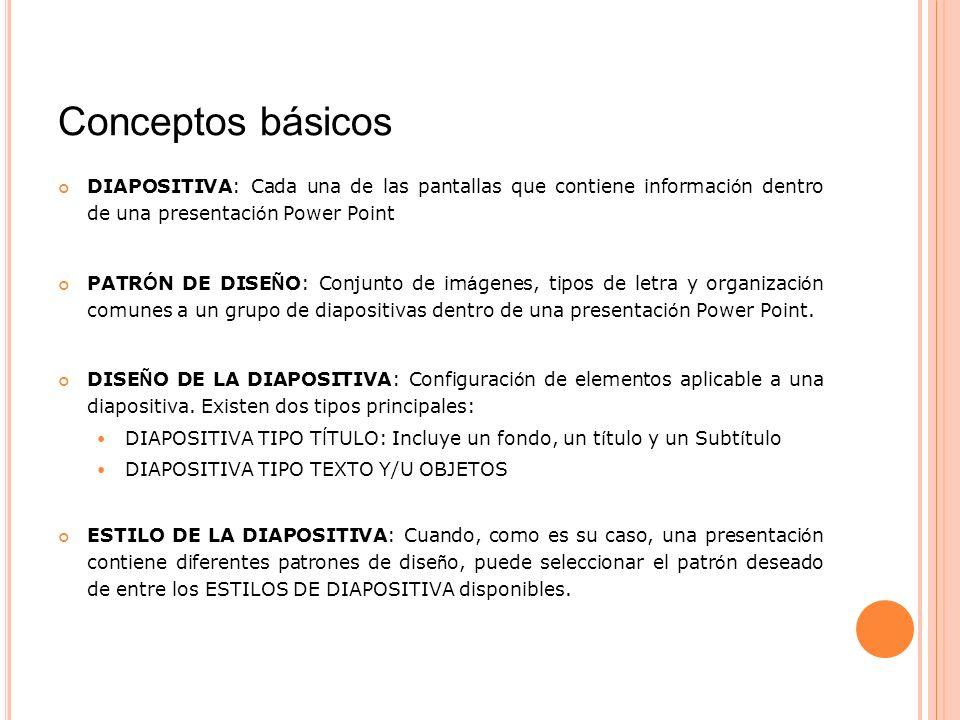 Conceptos básicos DIAPOSITIVA: Cada una de las pantallas que contiene informaci ó n dentro de una presentaci ó n Power Point PATR Ó N DE DISE Ñ O: Con