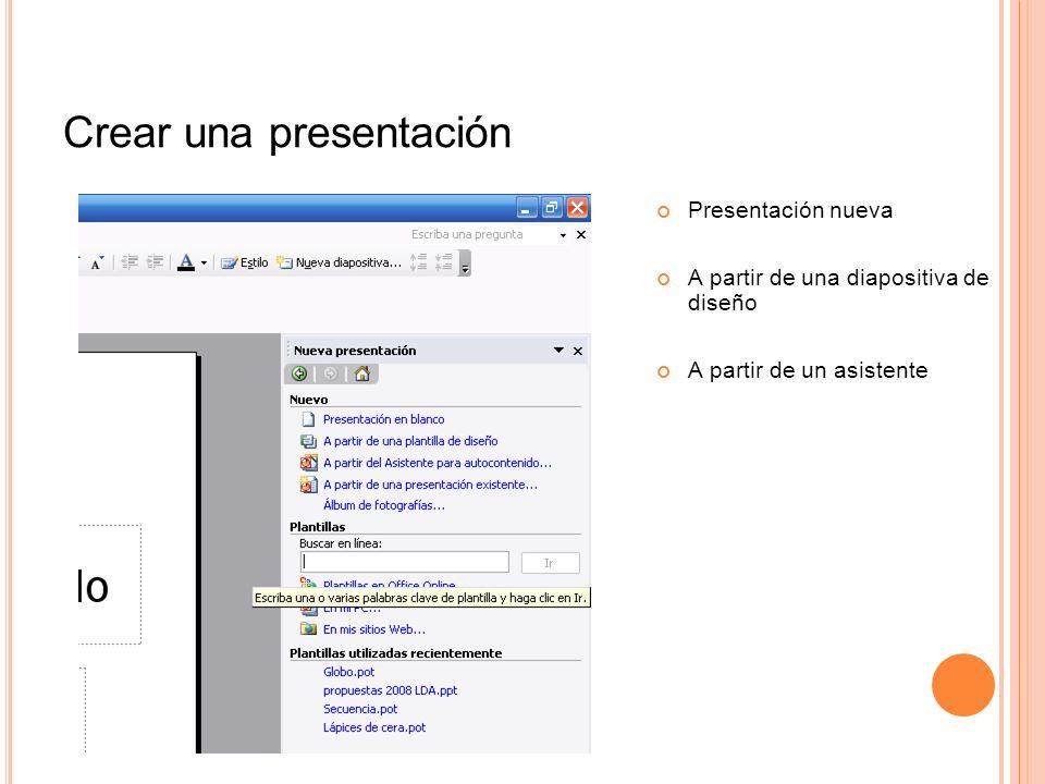 Crear una presentación Presentación nueva A partir de una diapositiva de diseño A partir de un asistente
