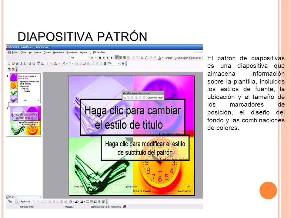 DIAPOSITIVA PATRÓN El patrón de diapositivas es una diapositiva que almacena información sobre la plantilla, incluidos los estilos de fuente, la ubica