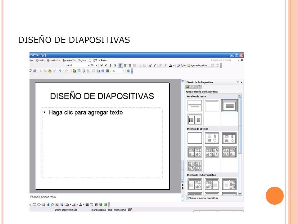DISE Ñ O DE DIAPOSITIVAS