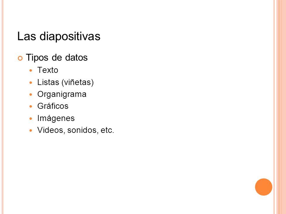 Las diapositivas Tipos de datos Texto Listas (viñetas) Organigrama Gráficos Imágenes Videos, sonidos, etc.