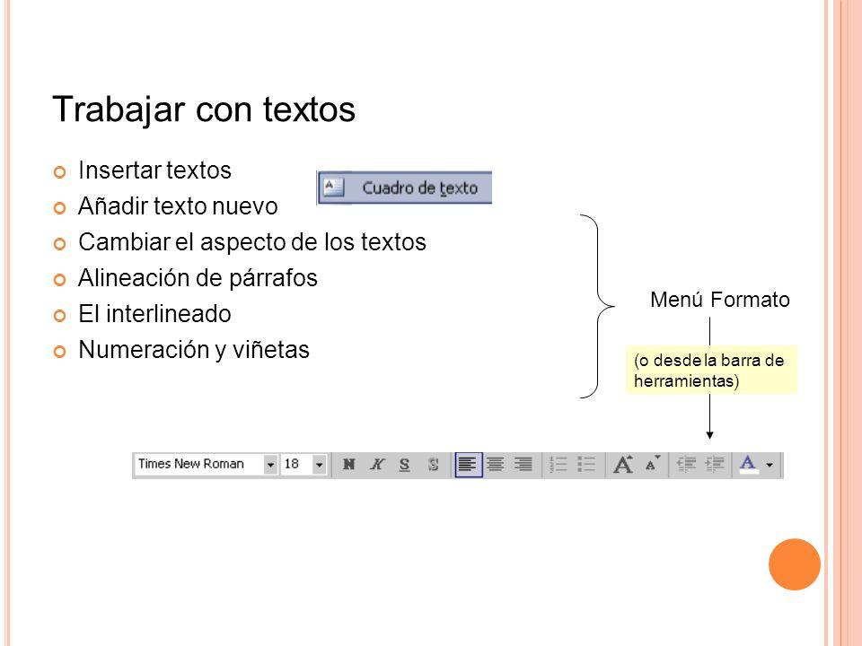 Trabajar con textos Insertar textos Añadir texto nuevo Cambiar el aspecto de los textos Alineación de párrafos El interlineado Numeración y viñetas Me