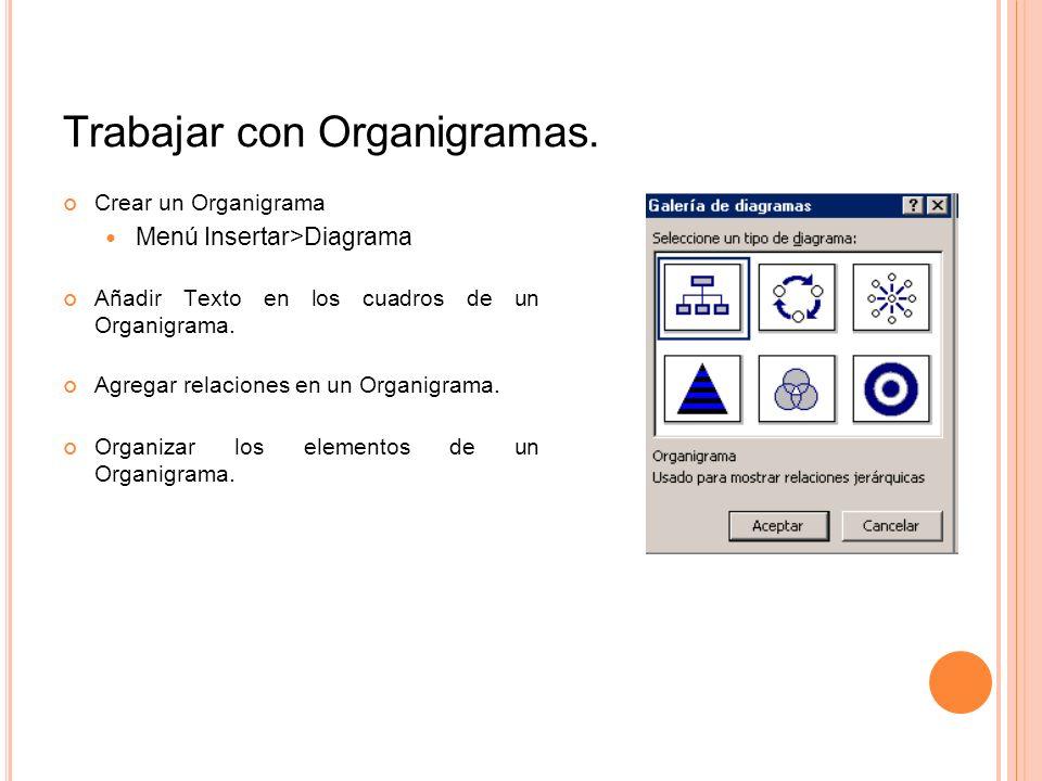 Trabajar con Organigramas. Crear un Organigrama Menú Insertar>Diagrama Añadir Texto en los cuadros de un Organigrama. Agregar relaciones en un Organig
