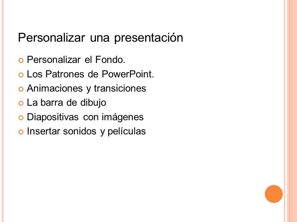 Personalizar una presentación Personalizar el Fondo. Los Patrones de PowerPoint. Animaciones y transiciones La barra de dibujo Diapositivas con imágen
