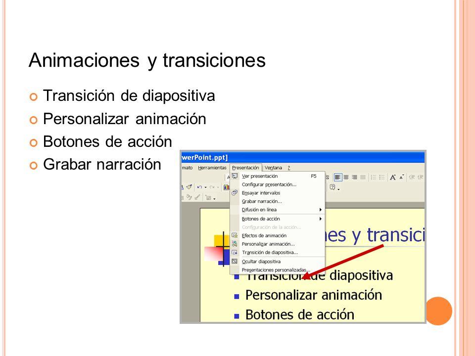 Animaciones y transiciones Transición de diapositiva Personalizar animación Botones de acción Grabar narración