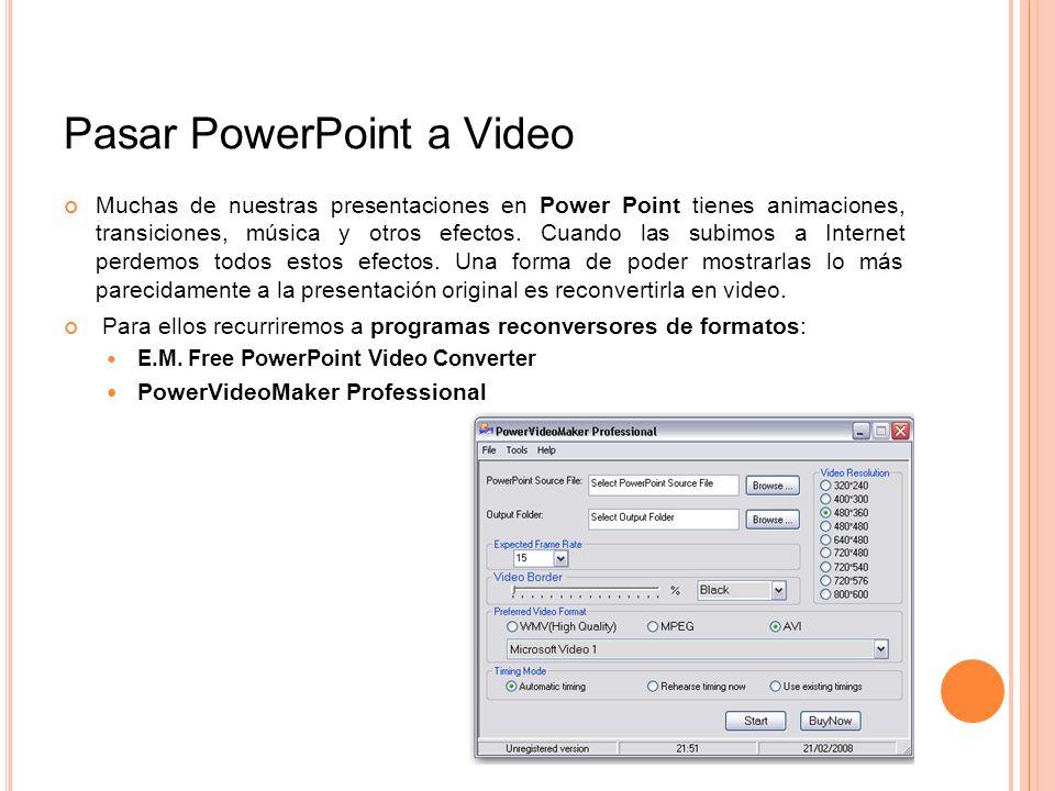 Pasar PowerPoint a Video Muchas de nuestras presentaciones en Power Point tienes animaciones, transiciones, música y otros efectos. Cuando las subimos