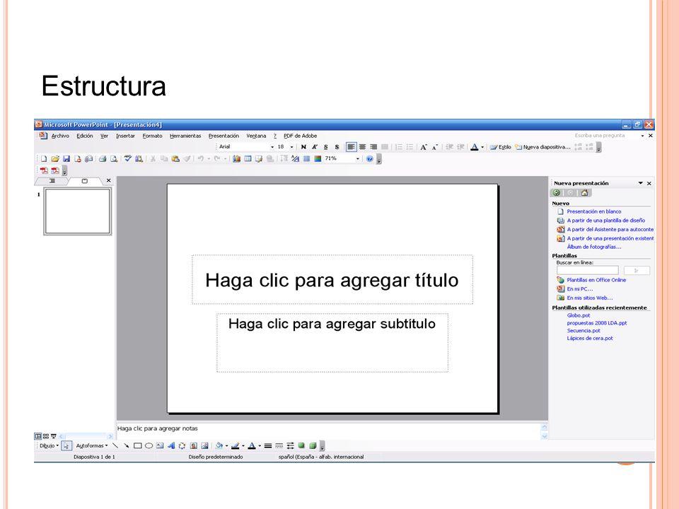 Conceptos básicos Presentación Diapositiva Página de notas Documentos Esquema