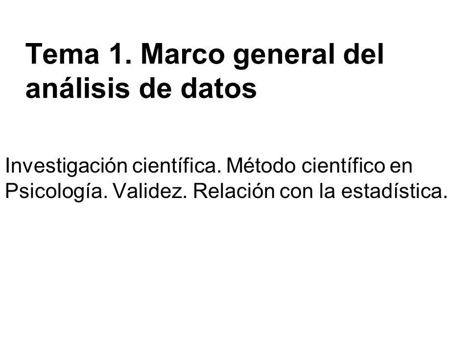 Tema 1. Marco general del análisis de datos Investigación científica. Método científico en Psicología. Validez. Relación con la estadística.