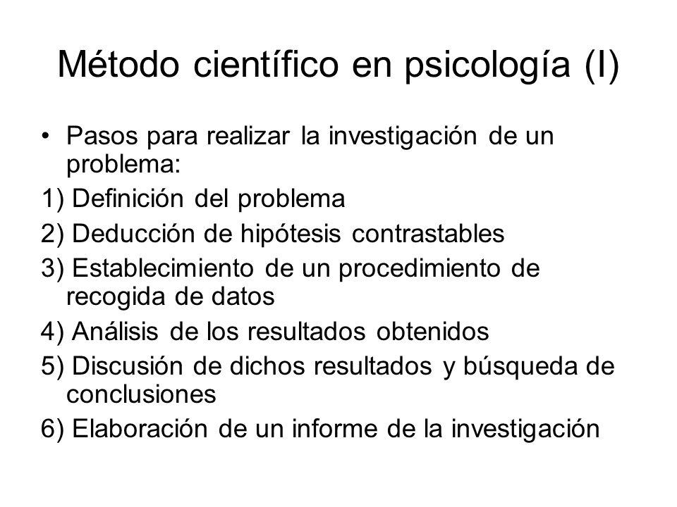 Método científico en psicología (I) Pasos para realizar la investigación de un problema: 1) Definición del problema 2) Deducción de hipótesis contrast