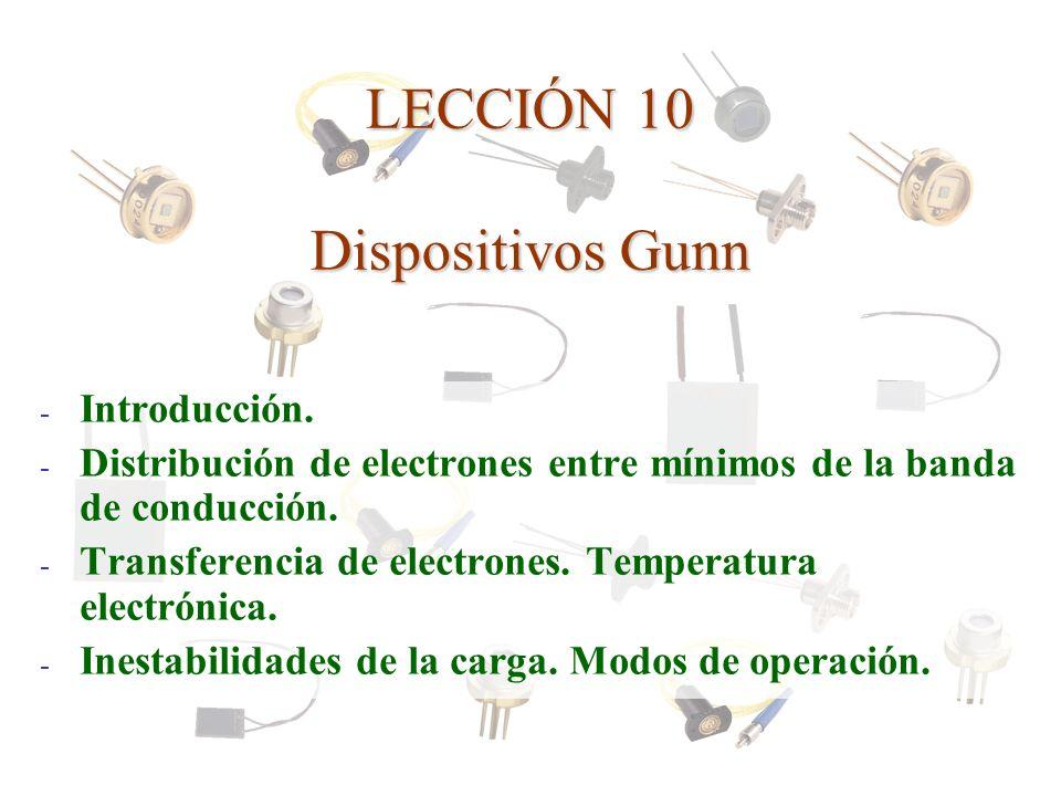 LECCIÓN 10 Dispositivos Gunn - Introducción. - Distribución de electrones entre mínimos de la banda de conducción. - Transferencia de electrones. Temp