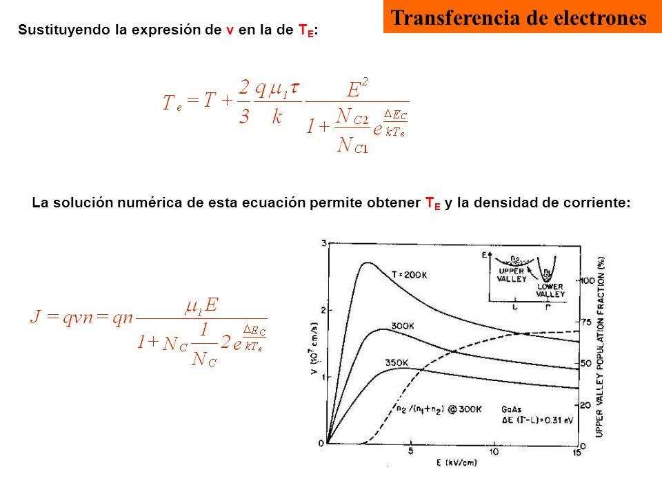 Transferencia de electrones Sustituyendo la expresión de v en la de T E : La solución numérica de esta ecuación permite obtener T E y la densidad de c