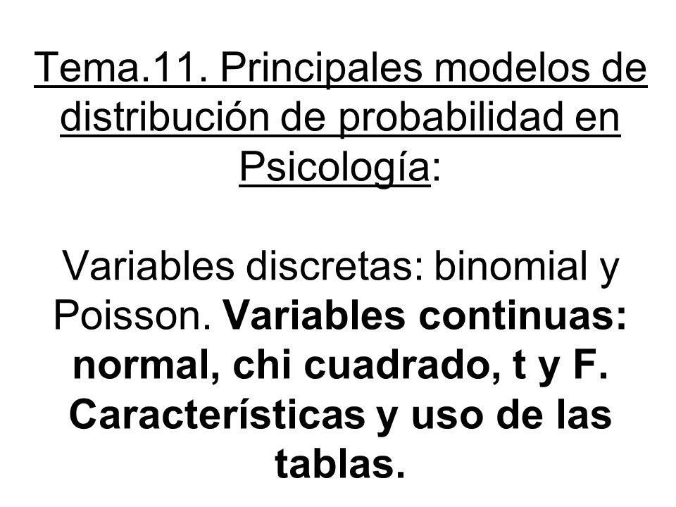 Tema.11. Principales modelos de distribución de probabilidad en Psicología: Variables discretas: binomial y Poisson. Variables continuas: normal, chi