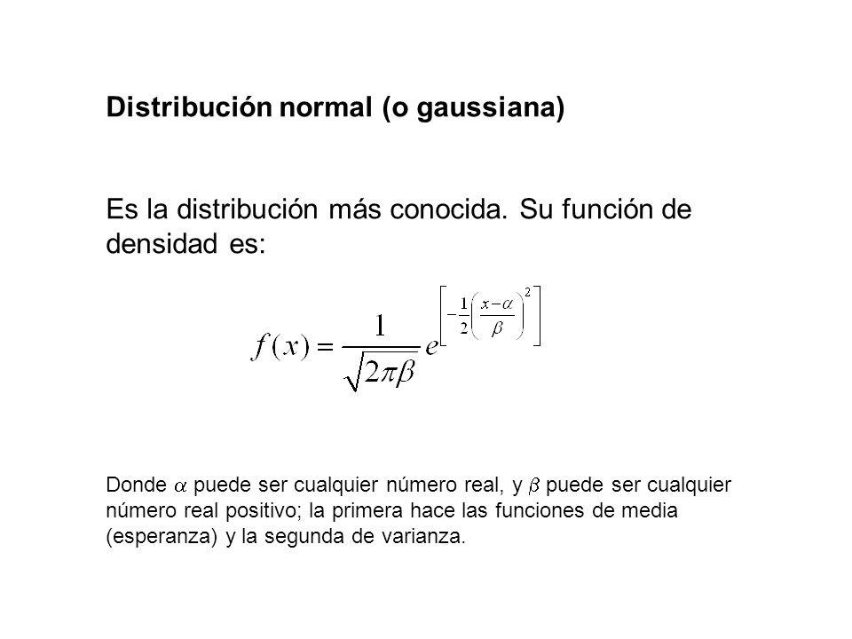 Distribución normal (o gaussiana) Es la distribución más conocida. Su función de densidad es: Donde puede ser cualquier número real, y puede ser cualq