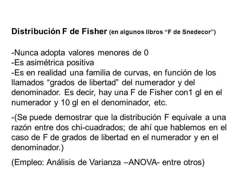 Distribución F de Fisher (en algunos libros F de Snedecor) -Nunca adopta valores menores de 0 -Es asimétrica positiva -Es en realidad una familia de c