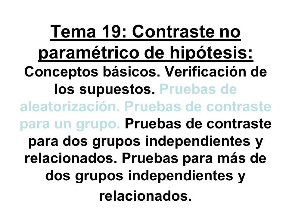 Tema 19: Contraste no paramétrico de hipótesis: Conceptos básicos. Verificación de los supuestos. Pruebas de aleatorización. Pruebas de contraste para