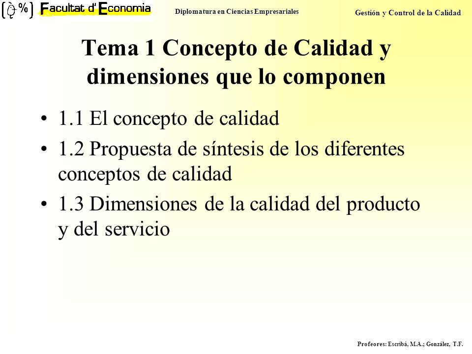 Diplomatura en Ciencias Empresariales Gestión y Control de la Calidad Profeores : Escribá, M.A.; González, T.F. Tema 1 Concepto de Calidad y dimension