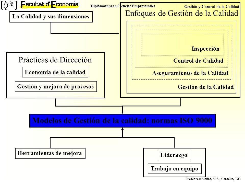 Diplomatura en Ciencias Empresariales Gestión y Control de la Calidad Profeores : Escribá, M.A.; González, T.F. Enfoques de Gestión de la Calidad Gest