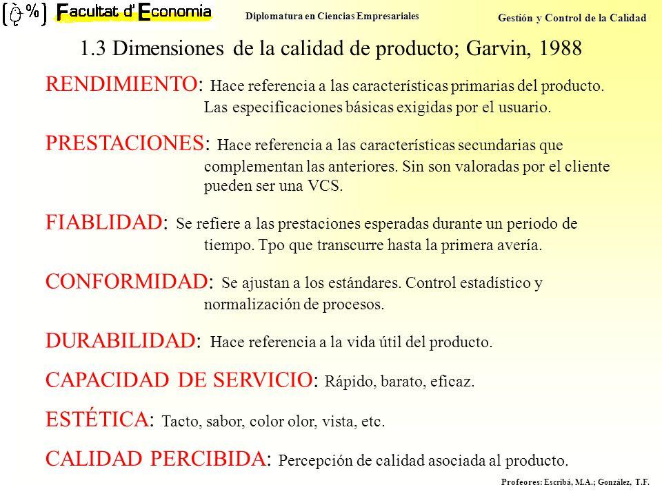 Diplomatura en Ciencias Empresariales Gestión y Control de la Calidad Profeores : Escribá, M.A.; González, T.F. 1.3 Dimensiones de la calidad de produ