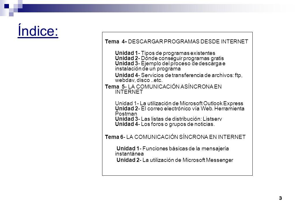 3 Índice: Tema 4- DESCARGAR PROGRAMAS DESDE INTERNET Unidad 1- Tipos de programas existentes Unidad 2- Dónde conseguir programas gratis Unidad 3- Ejemplo del proceso de descarga e instalación de un programa Unidad 4- Servicios de transferencia de archivos: ftp, webdav, disco..etc.