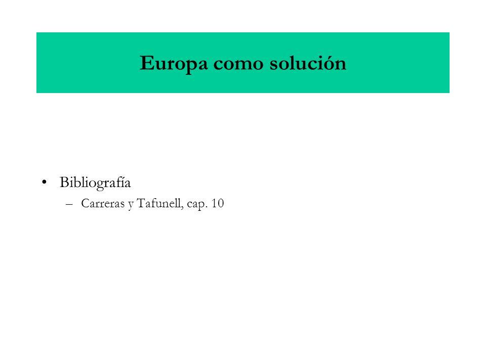Europa como solución Bibliografía –Carreras y Tafunell, cap. 10