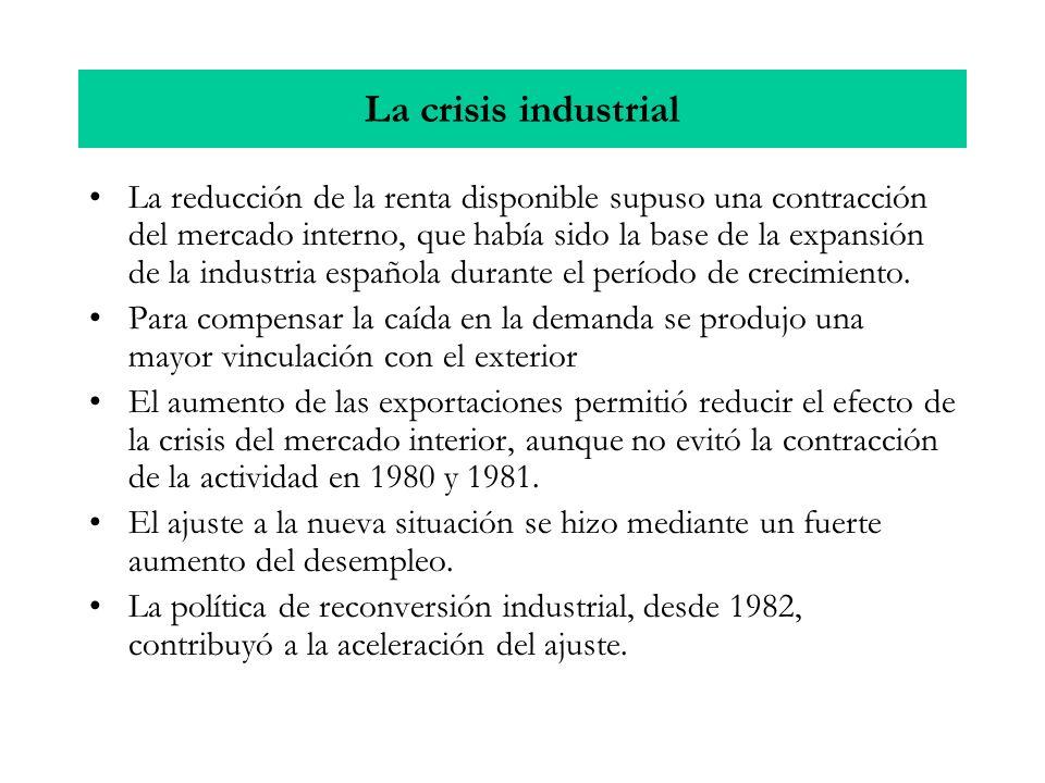 La crisis industrial La reducción de la renta disponible supuso una contracción del mercado interno, que había sido la base de la expansión de la industria española durante el período de crecimiento.