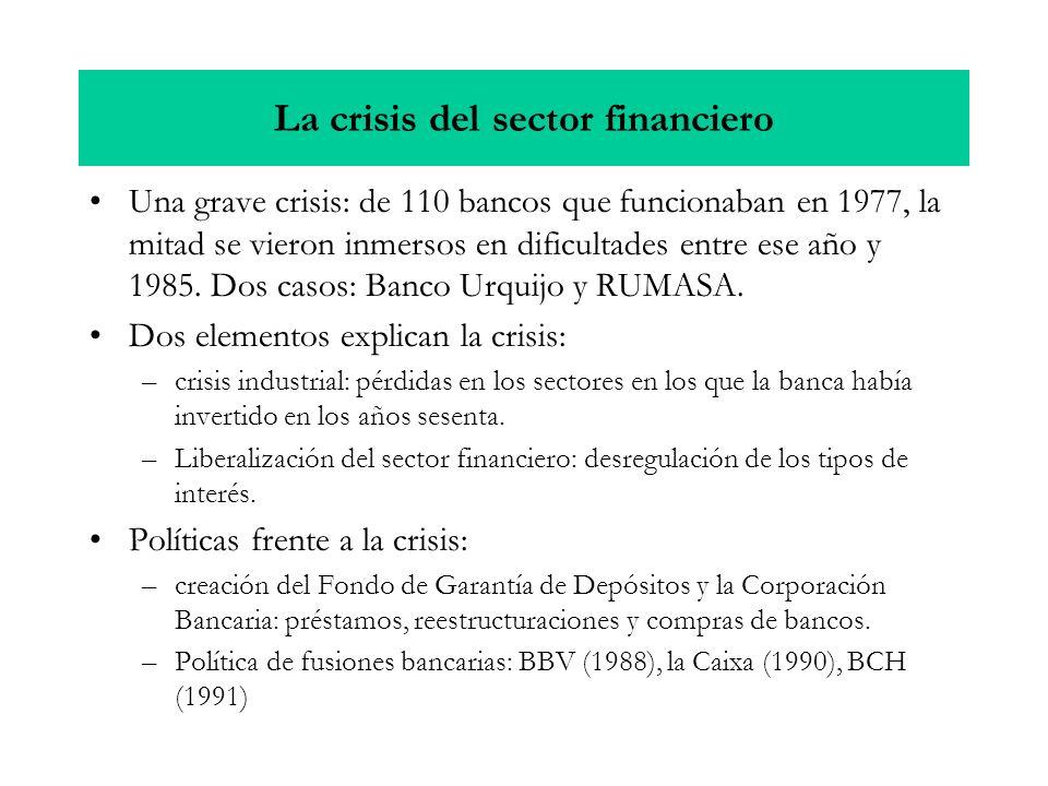 La crisis del sector financiero Una grave crisis: de 110 bancos que funcionaban en 1977, la mitad se vieron inmersos en dificultades entre ese año y 1985.