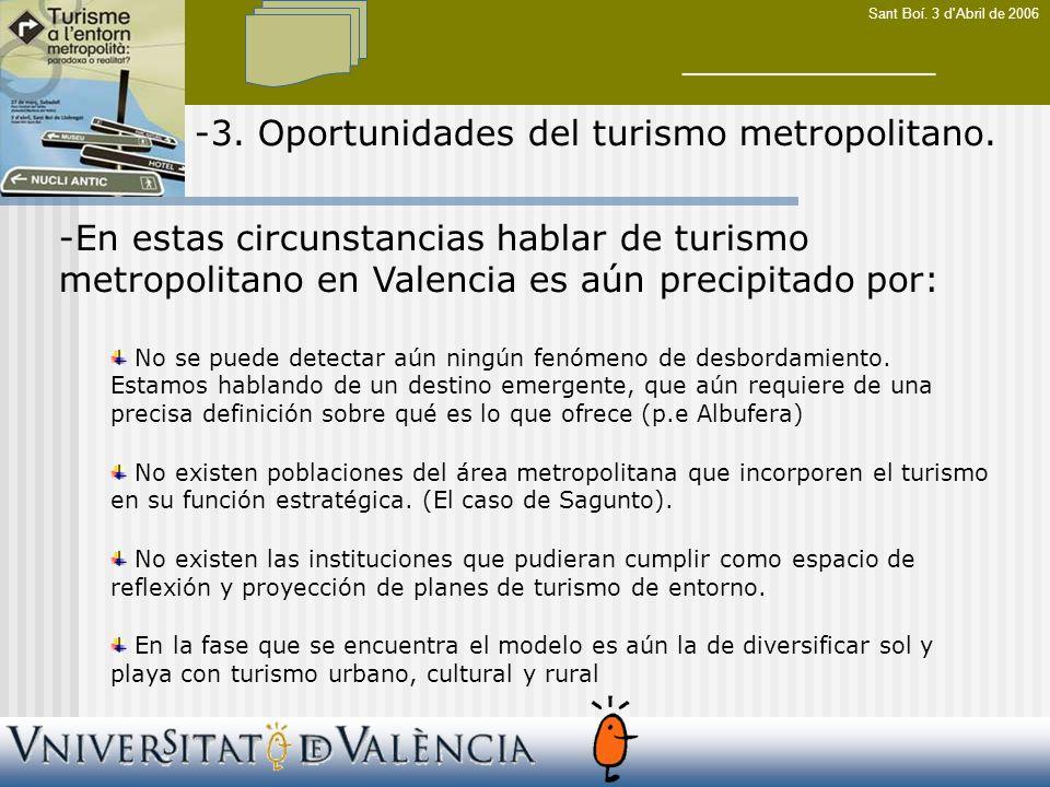 Sant Boí. 3 d Abril de 2006 -3. Oportunidades del turismo metropolitano.