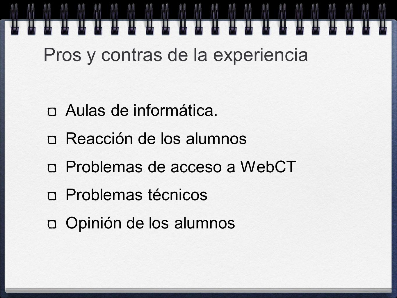 Aulas de informática. Reacción de los alumnos Problemas de acceso a WebCT Problemas técnicos Opinión de los alumnos Pros y contras de la experiencia