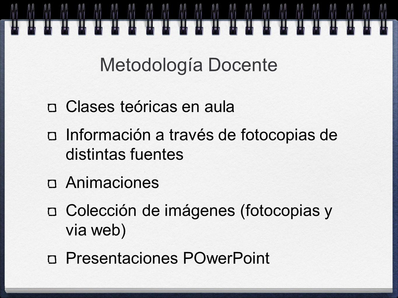 Clases teóricas en aula Información a través de fotocopias de distintas fuentes Animaciones Colección de imágenes (fotocopias y via web) Presentacione