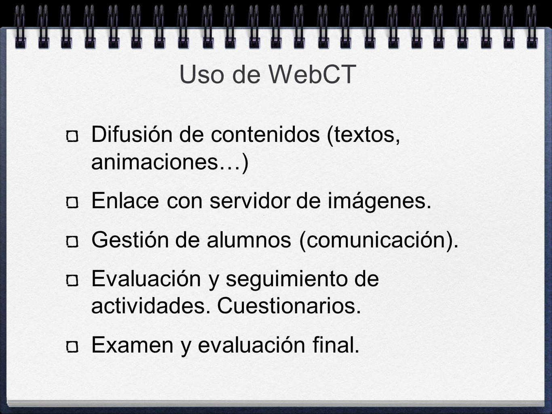 Difusión de contenidos (textos, animaciones…) Enlace con servidor de imágenes. Gestión de alumnos (comunicación). Evaluación y seguimiento de activida