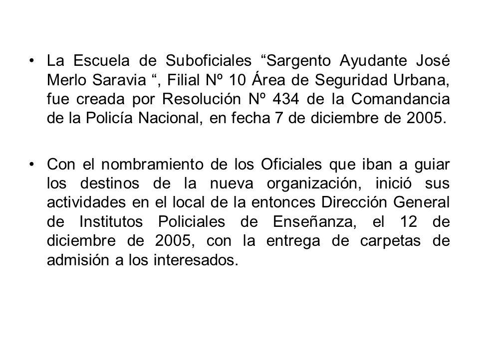 El 28 de febrero de 2006, por Resolución de la Dirección, fueron incorporados 260 Aspirantes a Suboficiales (207 Masculinos y 53 Femeninos).