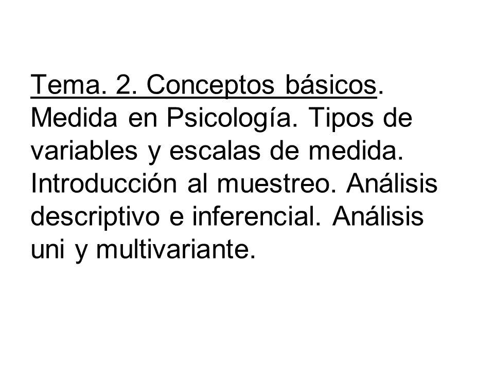 Tema. 2. Conceptos básicos. Medida en Psicología. Tipos de variables y escalas de medida. Introducción al muestreo. Análisis descriptivo e inferencial