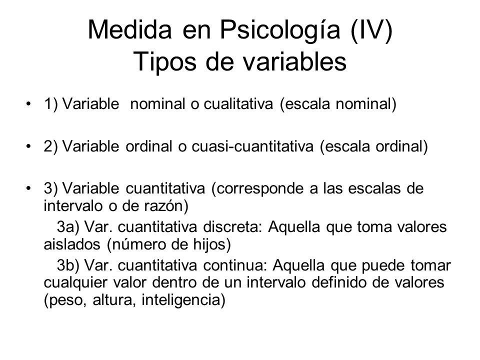 Medida en Psicología (IV) Tipos de variables 1) Variable nominal o cualitativa (escala nominal) 2) Variable ordinal o cuasi-cuantitativa (escala ordin