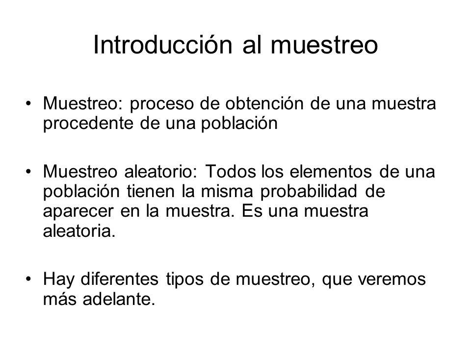 Introducción al muestreo Muestreo: proceso de obtención de una muestra procedente de una población Muestreo aleatorio: Todos los elementos de una pobl