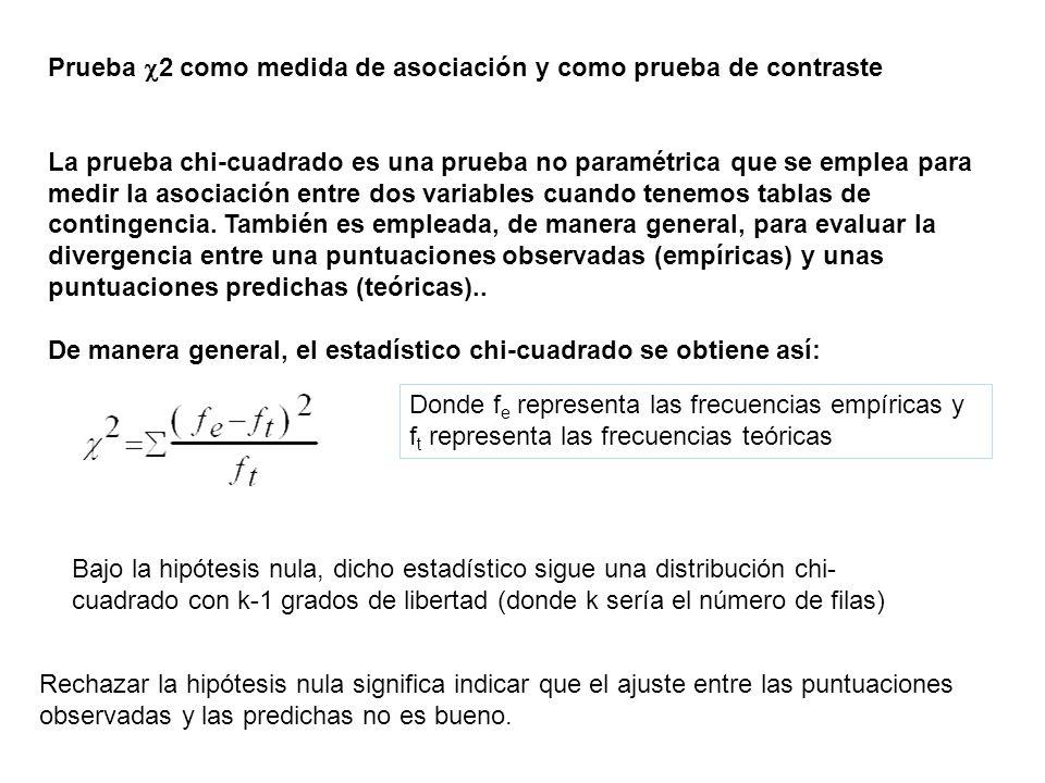 Prueba 2 como medida de asociación y como prueba de contraste La prueba chi-cuadrado es una prueba no paramétrica que se emplea para medir la asociaci