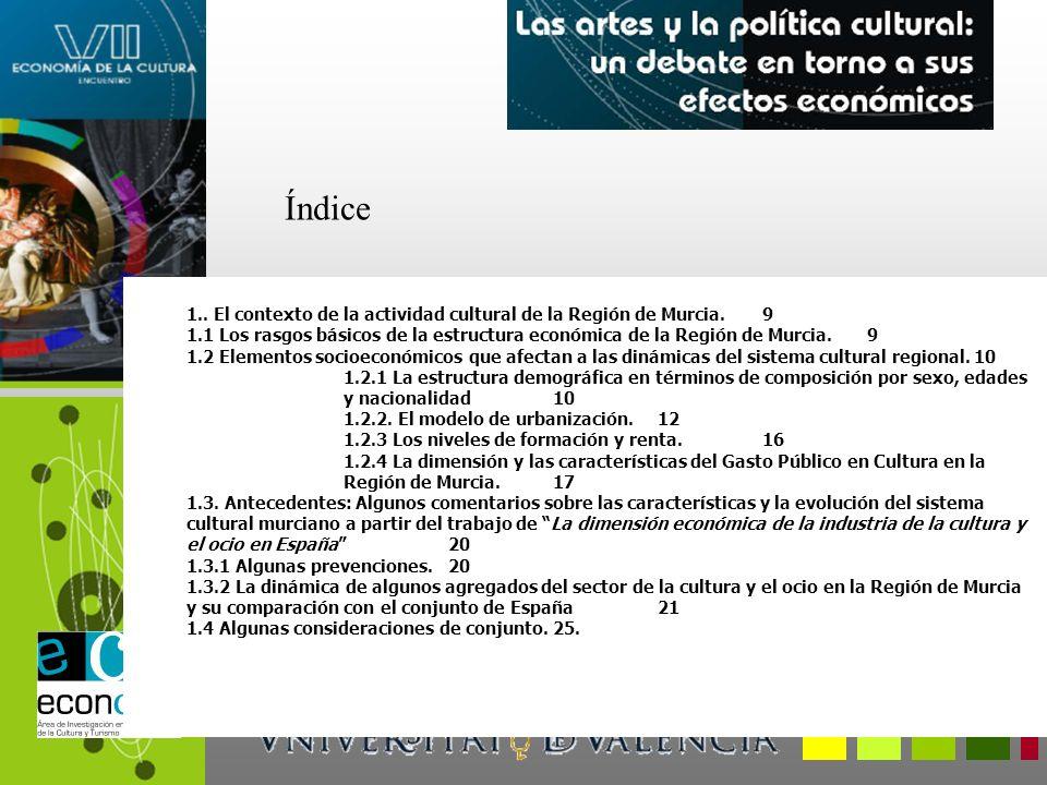 1.. El contexto de la actividad cultural de la Región de Murcia.9 1.1 Los rasgos básicos de la estructura económica de la Región de Murcia.9 1.2 Eleme
