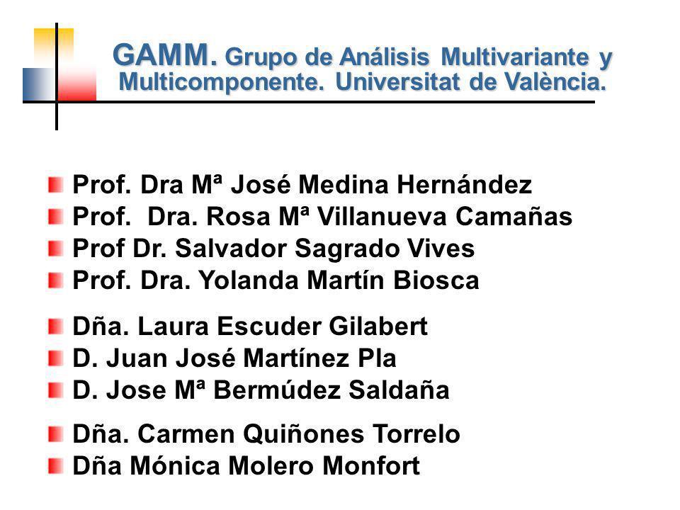 Prof. Dra Mª José Medina Hernández Prof. Dra. Rosa Mª Villanueva Camañas Prof Dr. Salvador Sagrado Vives Prof. Dra. Yolanda Martín Biosca Dña. Carmen