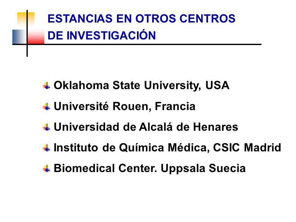 ESTANCIAS EN OTROS CENTROS DE INVESTIGACIÓN Oklahoma State University, USA Université Rouen, Francia Universidad de Alcalá de Henares Instituto de Quí
