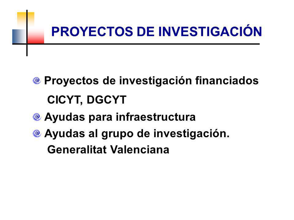 Proyectos de investigación financiados CICYT, DGCYT Ayudas para infraestructura Ayudas al grupo de investigación. Generalitat Valenciana PROYECTOS DE