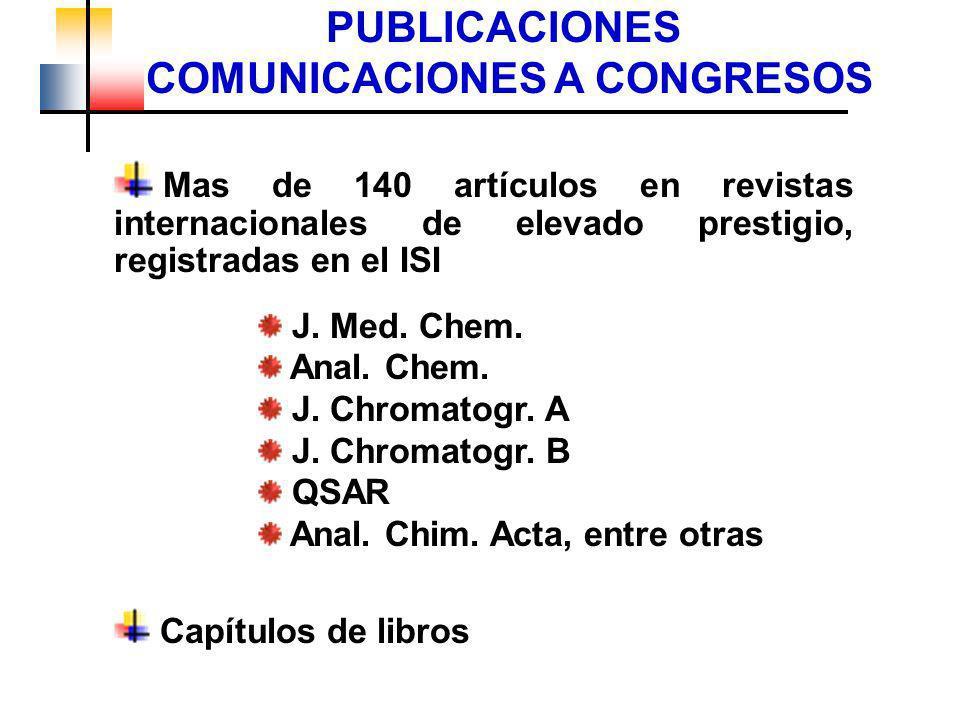 PUBLICACIONES COMUNICACIONES A CONGRESOS Mas de 140 artículos en revistas internacionales de elevado prestigio, registradas en el ISI J. Med. Chem. An