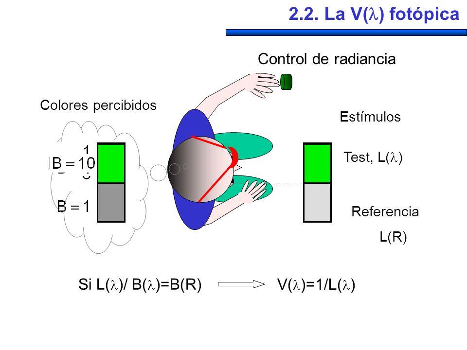 Control de radiancia Estímulos Test, L( ) Referencia L(R) Colores percibidos Si L( )/ B( )=B(R) V( )=1/L( ) 2.2. La V( ) fotópica