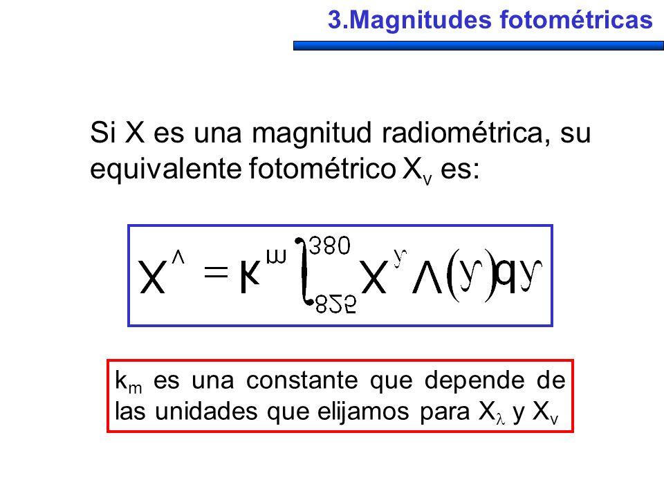 3.Magnitudes fotométricas k m es una constante que depende de las unidades que elijamos para X y X v Si X es una magnitud radiométrica, su equivalente