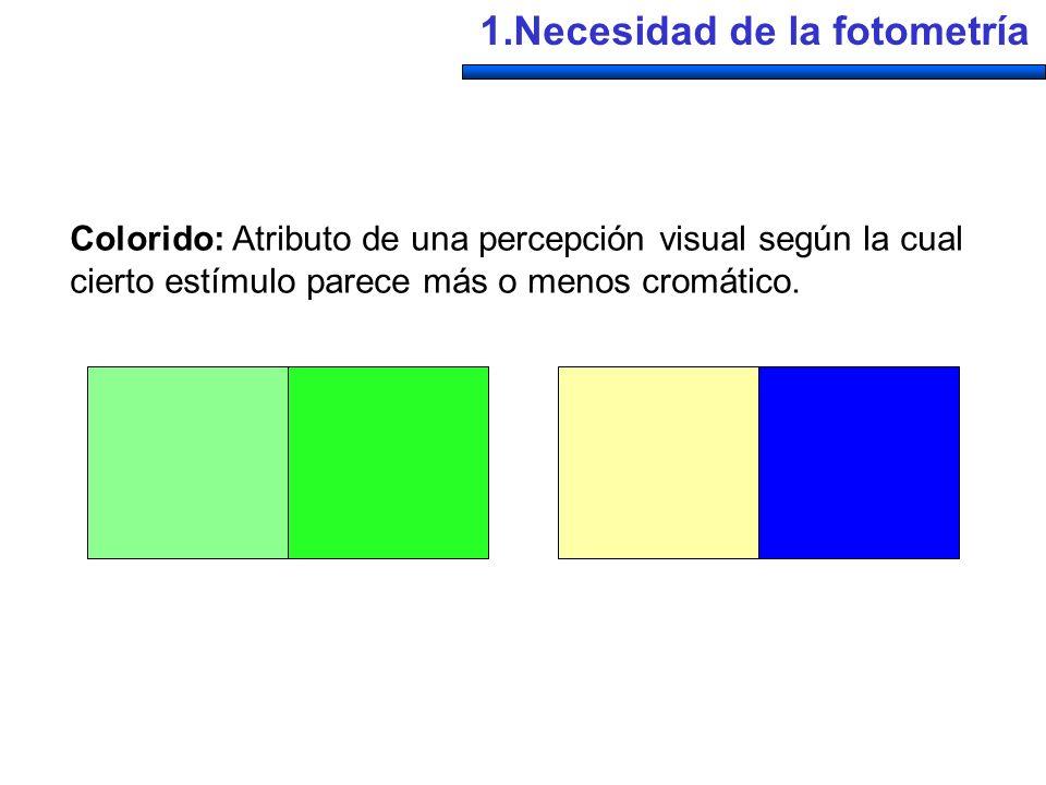 Colorido: Atributo de una percepción visual según la cual cierto estímulo parece más o menos cromático. 1.Necesidad de la fotometría